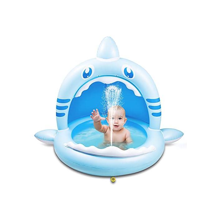 41IkDypKq3S 【Alta calidad】: esta piscina hinchable infantil está hecha de PVC de alta calidad, impermeable y hermética. Es divertido para los bebés y fácil de inflar, lo que mantiene a los niños frescos y seguros. 【Techo de protección solar】: el techo de protección solar protege a los bebés de la luz solar directa. Esta piscina infantil ofrece a su bebé un lugar fresco y fresco en el caluroso verano. 【Adorable diseño con forma de tiburón】: esta piscina infantil para niños tiene la forma de un tiburón, es muy linda y adecuada para bebés y niños. Y tu bebé se enamorará de este piscina hinchable.