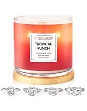 Charmed Aroma 2-Wick, Tropical Punch Jewelry Candle with Surprise Ring Inside