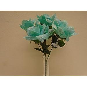 """3 Bushes T BLUE Open Rose 6 Artificial Silk Flower 13"""" Bouquet 590TBL 44"""