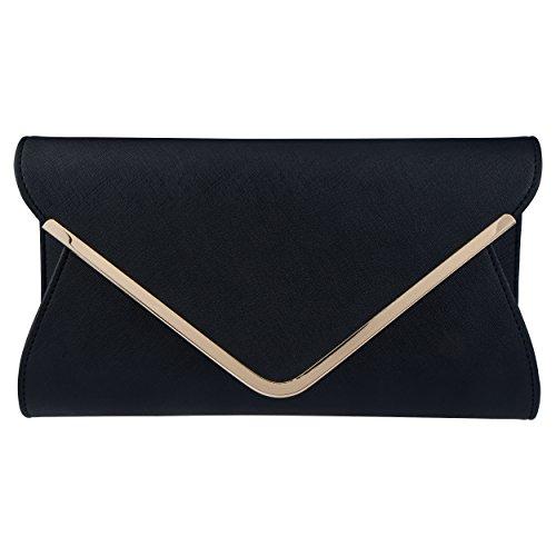 Black Clutch - Bagood Leather Envelope Clutches Bag for Women Evening Handbags Shoulder Bags