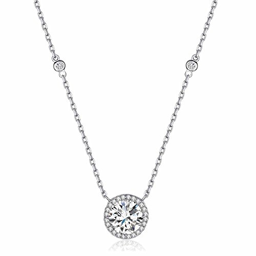 Rhodium Plated Sterling Silver Round Solitaire Cubic Zirconia CZ Halo Pendant Necklace It's a circle gift (Silver Basic) (Cubic Zirconia Solitaire Necklace)