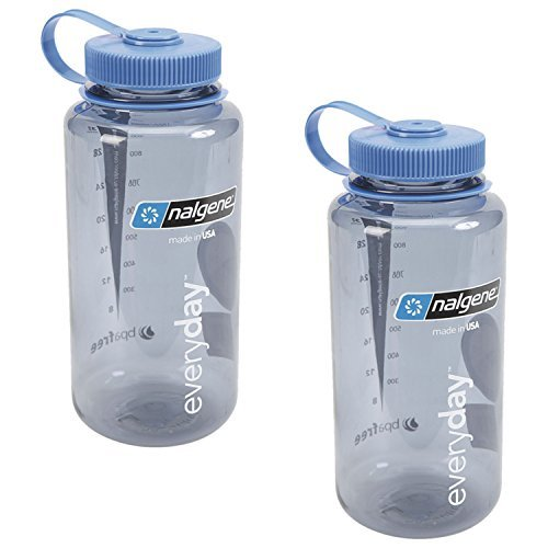 Nalgene 32oz Wide Mouth Everyday Water Bottle - 2 Pack (Grey with Blue Lid) (Lexan Water Bottle)