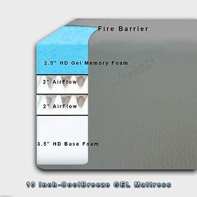 DynastyMattress 10-inch Cool Gel Memory Foam Mattress-Twin Size