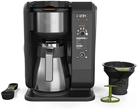 Ninja Hot and Cold Brewed System, Auto-iQ Tea and Coffee Maker with 6 Brew Sizes, 5 Brew Styles, Frother, Coffee Tea Baskets with Thermal Carafe CP307