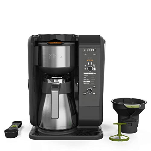 - Ninja Hot and Cold Brewed System, Auto-iQ Tea and Coffee Maker with 6 Brew Sizes, 5 Brew Styles, Frother, Coffee & Tea Baskets with Thermal Carafe (CP307)