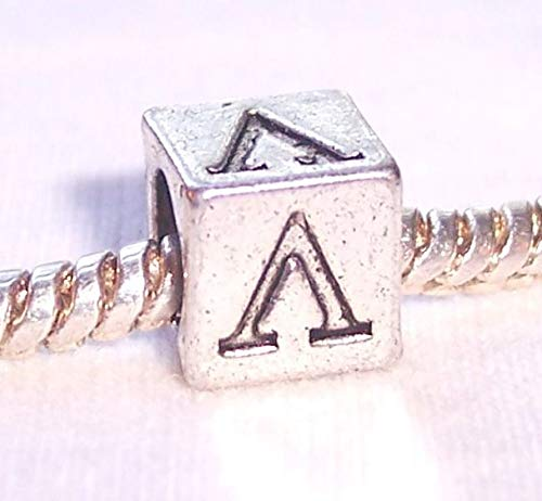 Jewelry Making Supplies Lambda Symbol Uppercase Greek Letter Numeral Cube Charm for Euro Bead Bracelets Make Personalized Necklaces Bracelets and Other - Symbols Letters Greek