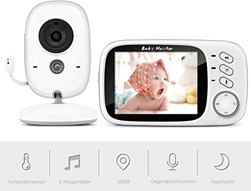 Baby Monitor, BOIFUN 3.2'' Baby Video Monitor with Camera and Audio LCD Screen 750mAh Rechargeable Battery Support VOX Night Vision Temperature Monitoring Two-Way Talk 8 lullabies for Baby/Elder/Pet
