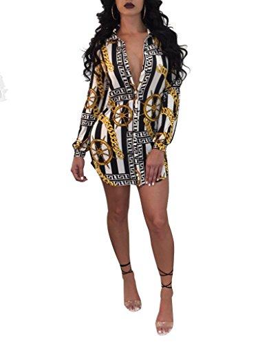 Remelon Womens Chain Anchor Print Button Down Collar Long Shirt Dress Blouse Mini Dress Black (Chain Tunic)
