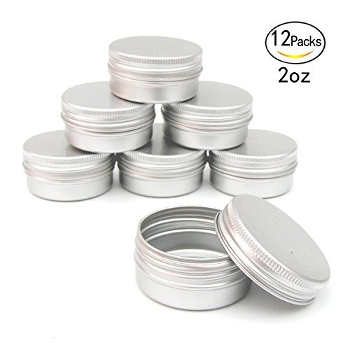 Healthcom 2oz 12 Pack Metal Steel Tin Flat Silver Metal Tins Empty Slip Slide Round Tin Containers With Tight Sealed Twist Screwtop - Flat Metal