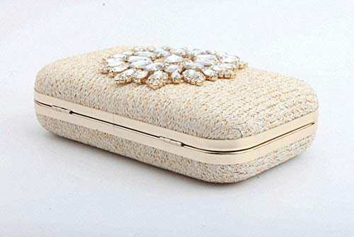 Bag Prom Gift Wedding Flower Bag Ladies' Bridal For Party Diamond Handbag Diagonal Chain Shoulder Beige Evening 5qpx7gvxw4
