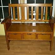 Amazon.com: Estilo rústico (Madera), color café silla banco ...