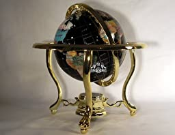 Unique Art 10-Inch by 6-Inch Black Onyx Ocean Table Top Gemstone World Globe with Gold Tripod