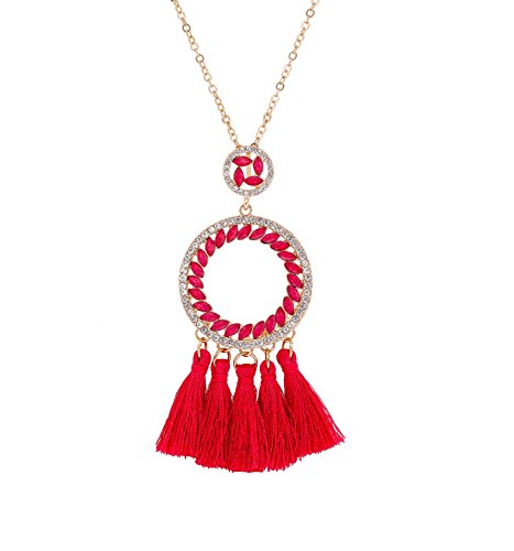 PHALIN JEWELRY Long Chain Necklace Crystal Circle Pendant Necklaces Delicate Bohemia Tassel Necklace for Women Girls by PHALIN JEWELRY (Image #7)