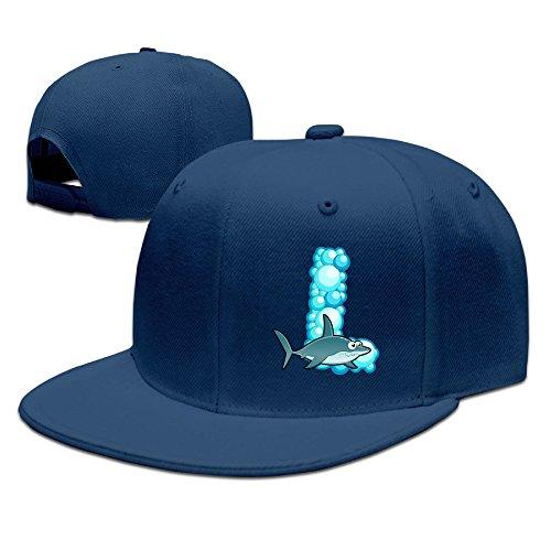 Golfer Sports Cap - ZOENA Ocean Animal Shark Alphabet L Cotton Hats Golfer Sanpback Cap Hat For Outdoor Sports Navy