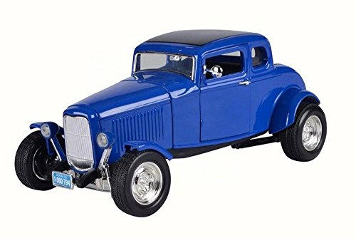 1932 5 Window Coupe (1932 Ford Coupe Five-Window Coupe, Blue - Motor Max 73171 - 1/18 Scale Diecast Model Toy Car)