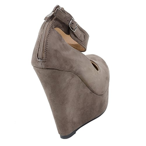 c4d67b4001c7 good HerStyle Women s Manmade Steccy 5-inch Suede Sided Wedge ...