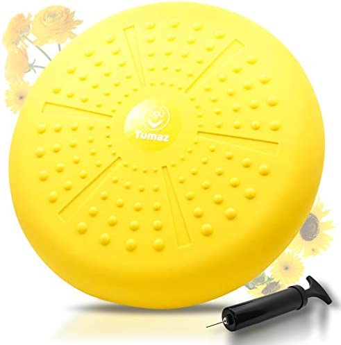 Tumaz Wobble Cushion – Wiggle Seat to Improve Sitting Posture & Attention Also Stability Balance Disc to Physical Therapy, Relief Back Pain & Core Strength for All Ages [Extra Thick, Pump Included]