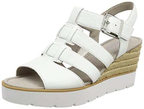 Gabor Shoes Fashion, Sandalias con Cuña para Mujer Blanco (weiss 21)