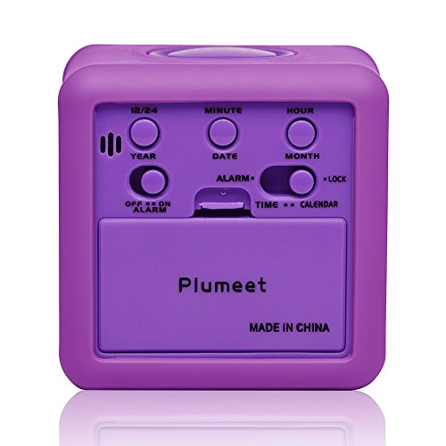 Plumeet Easy Setting Digital Travel Alarm Clock with Snooze,Soft Nightlight,Large Display Time & Month & Date & Alarm, Ascending Sound Alarm & Handheld Sized, Best Gift for Kids (Purple)