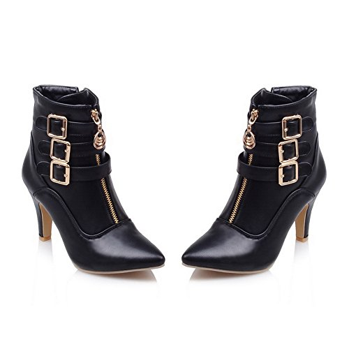 Buckles Heel BalaMasa Wheeled Boots Leather Womens Rhinestones Black Zipper Imitated Metal Studded Shoes w4qpaqIH