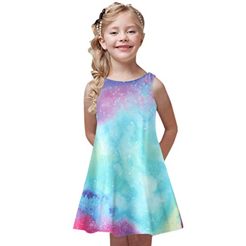 (Willow S Fashion Toddler Girls Summer Princess Dress Kids Baby Cute Printing Party Sleeveless Comfortable Dresses Light Blue)