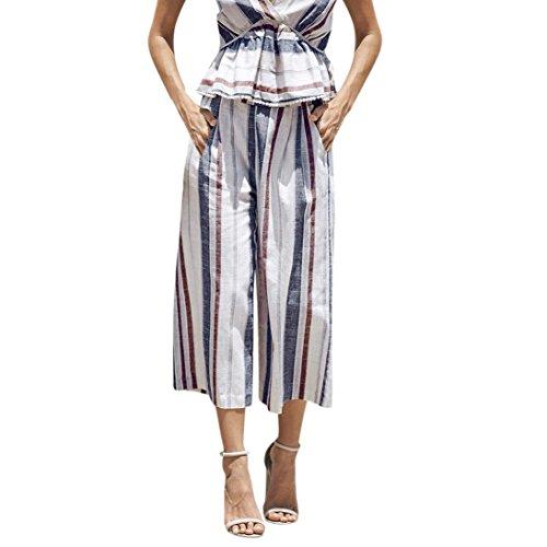 Mikey Store Women's Summer Loose Halter Sleeveless Striped Wide Leg - Capri Halter Set