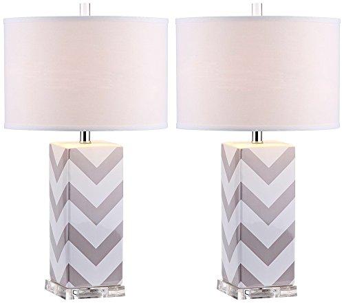 Safavieh Lighting Collection Chevron Stripe Table Lamp, Grey, Set of 2