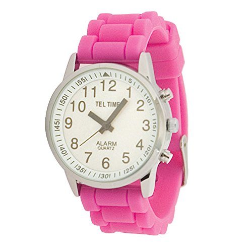 Ladies Touch Talking Watch - Large Face - Pink Rubber Band - English by Tel-Time
