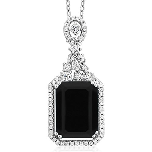 (Gem Stone King Black Onyx 925 Sterling Silver Pendant Necklace 5.60 Ct Emerald Cut with 18 Inch Silver Chain)