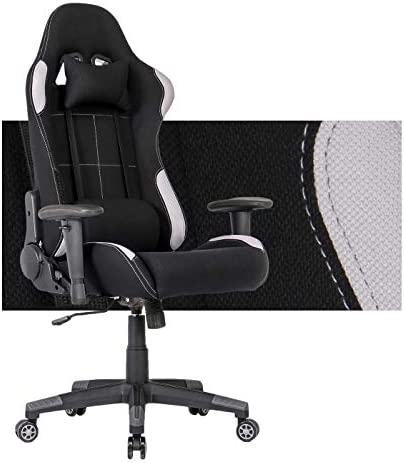 Gaming Chair Computer Gaming Chairs Fabric Racing Office Chair Recliner Computer Chair E-Sports Computer Desk Chair with Lumbar Support Grey Back