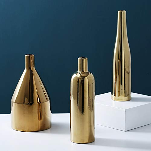 (Purzest Decor Vases Set,Gold Metallic Vase, Set of)