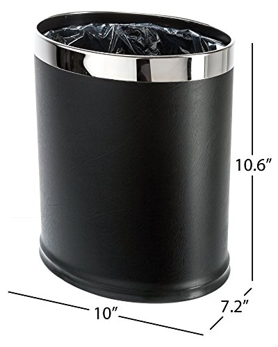 - Brelso 'Invisi-Overlap' Open Top Leatherette Trash Can, Small Office Wastebasket, Modern Home Décor, Oval Shape (Black)