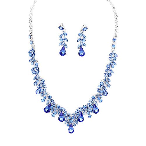 - Affordable Wedding Jewelry Crystal Set Necklace Earring Bridal Formal Women Costume Jewelry (Blue)