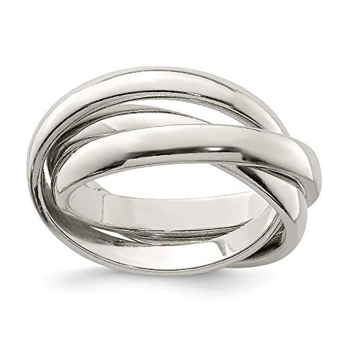 Ring Rolling Silver (925 Sterling Silver Rolling Wedding Ring Band Size 8.00 Fine Jewelry Gifts For Women For Her)