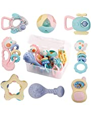 WISHTIME Baby Rattles Teether Baby Toys - 8 Pcs Shaker, Grab and Spin Rattle, Musical Toy Set, Early Educational Toys for 3, 6, 9, 12 Month Baby Infant, Newborn