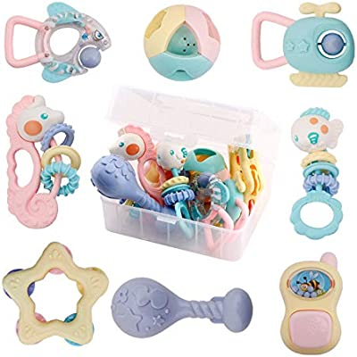 HANMUN Teether Rattle Musical Instruments Chritsmas Gift Shaker Grab and Spin Rattle Set with Snail Storage Box Toys for 0,3,6,9,12 Month Old Baby Infant Newborn Boy Girl /¡/