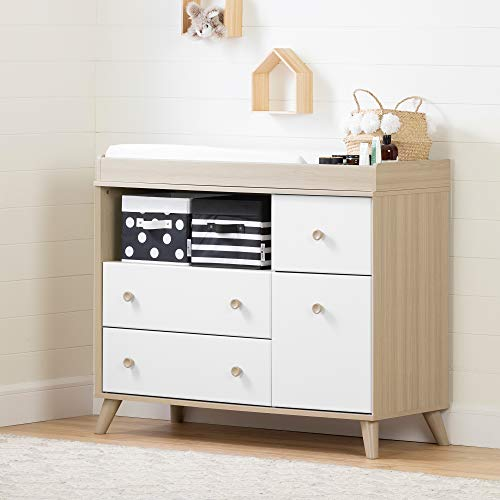 South Shore Yodi Changing Table with Drawers-Soft Elm and Pure White