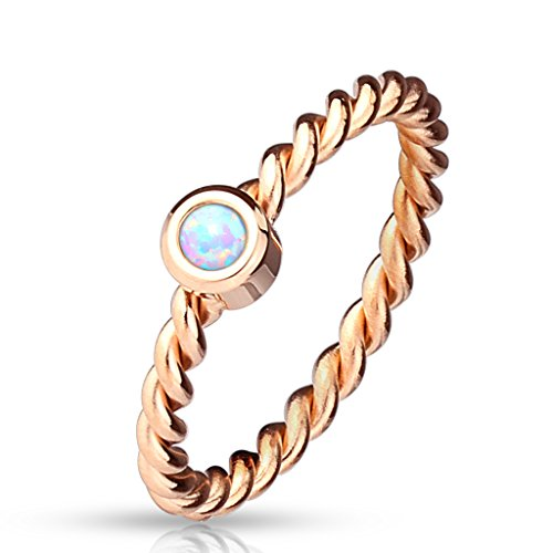 Round Synthetic Opal Braided Rose Gold IP Stainless Steel Ring 2.5mm Width R665 (6) - Gold Braided Ring