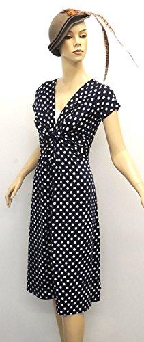 Neuf Femmes Bleu Déco Pois Vintage Rétro WW2 Fille de la campagne 1940s/50s Pin-up Robe - Bleu, 40