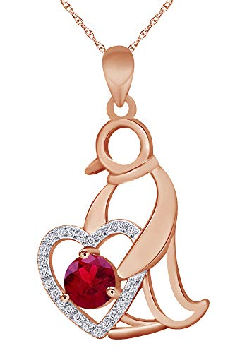 (Wishrocks Round Cut Simulated Ruby Penguin Heart Pendant Necklace in 14K Rose Gold Over Sterling Silver)