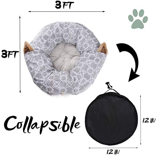 Cat Dog Tunnel Bed with Cushion Tube Toys Plush Large Diameter Longer Crinkle Collapsible 3 Way for Large Cats Kittens Kitty Small Puppy Outdoor 6FT 6