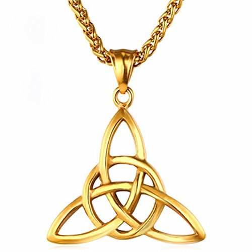 BABYSIS Stainless Steel Good Luck Irish Celtic Knot Triangle Vintage Pendant Necklaces Two Colors (Gold)