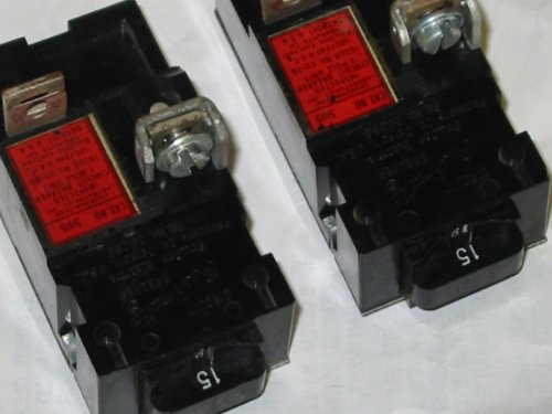 2 Breakers Pushmatic, Bulldog P115 15 Amp, 1 Pole, Circuit Breaker ITE 1P -