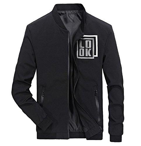 Aprilley Men's Stand Collar Fitted Zipper Coat Printed Baseball Jacket Black L