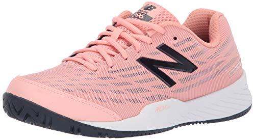 New Balance Women's 896v2 Hard Court Tennis Shoe, White Peach/Pigment, 8.5 D US