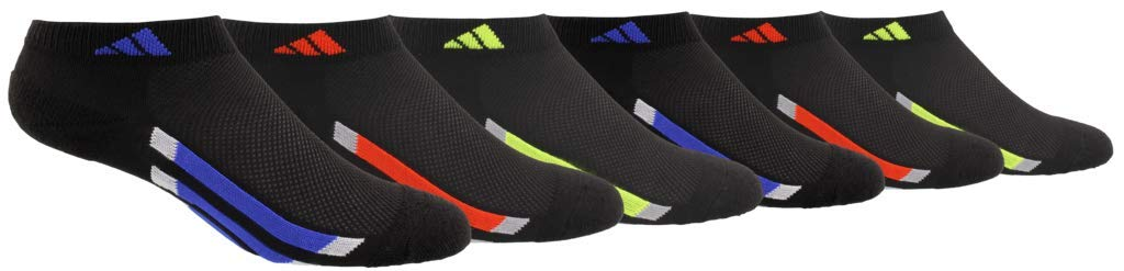 adidas Youth Kids-Boy's/Girl's Cushioned Low Cut Socks (6-Pair), Black/Active Blue/Light Onix Black/Active Red/Ligh, Large, (Shoe Size 3Y-9) by adidas