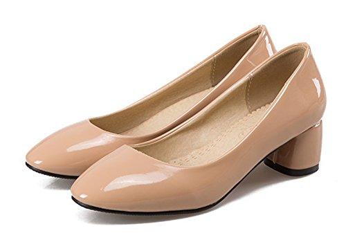 Desgaste Profesional De La Mujer De Aisun Para Trabajar El Resbalón En El Vestido Punta Redonda Tacones Gruesos Mediados De Bombas De Los Zapatos Albaricoque