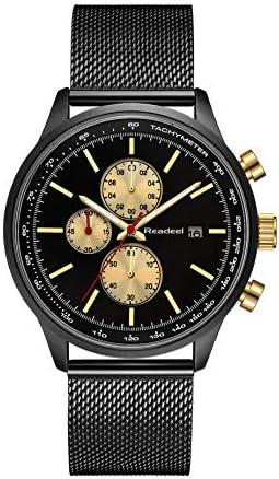Stainless Steel Mesh Strap Mens Watch Chronograph Sport Wrist Date Quartz Wristwatch