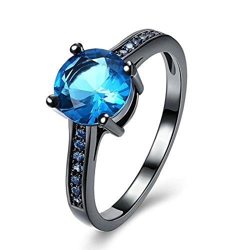 Epinki Gold Plated Women Ring Round Four Claw Cubic Zirconia Blue Ring Engagement Wedding Band Size 6 (Mtb Claw)