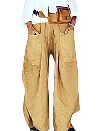 xiaohuoban Women's Pants Wide Leg Baggy Elastic Waist Trousers with Pockets